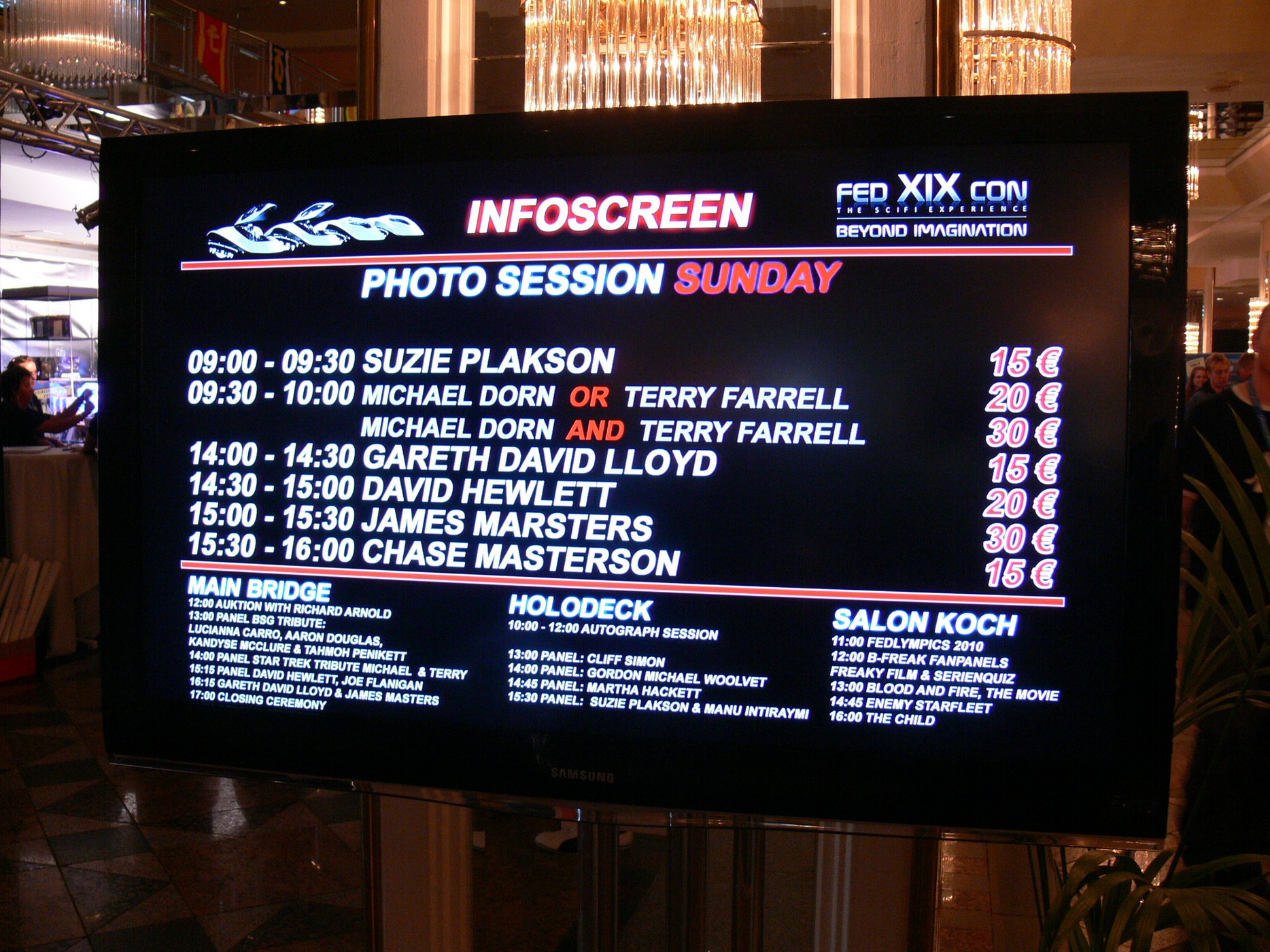 The Infoscreen listing the events